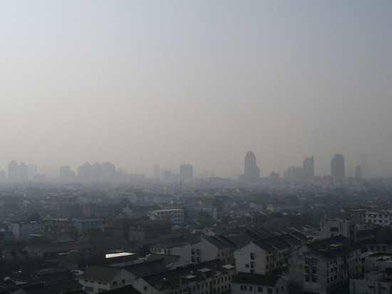Smog seen across a Chinese city