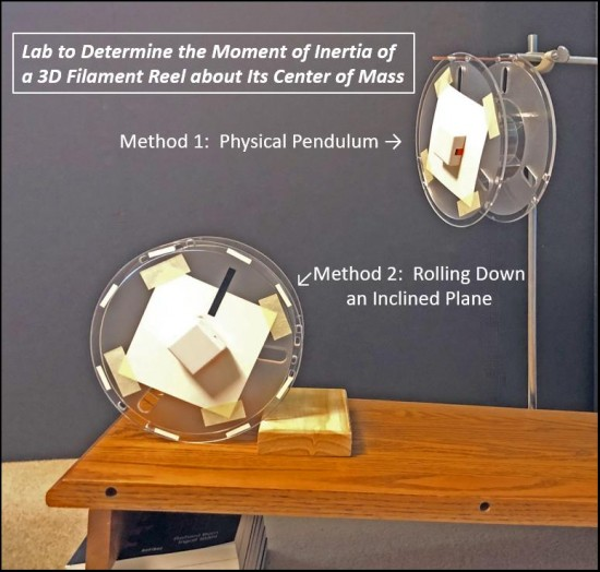 Two methods to determine the moment of inertial of an empty 3D filament reel